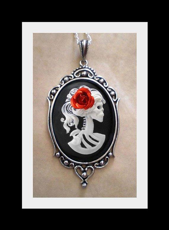 Gothic White Black Lolita Skeleton Cameo Necklace