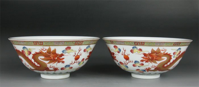 Pairs QING DYNASTY Famille Rose IRON-RED Dragon WITH GILD BOWLS#P2564