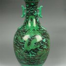 QING DYNASTY BLACK GROUND WITH GREEN Dragon VASE #P2499