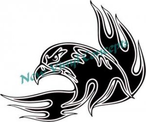 Flaming Eagle Tribal Style #3 Decal Sticker