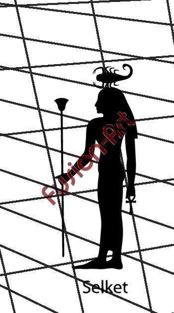 Egyptian God Selket Silhouette (Decal - Sticker)