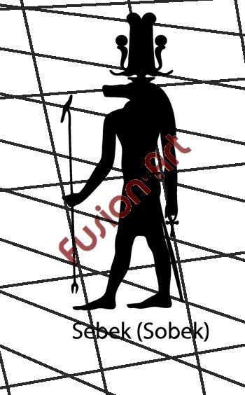 Egyptian God Sebek 2 Silhouette (Decal - Sticker)