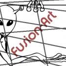 Cartoon Alien UFO ET Silhouette 2 (Decal - Sticker)