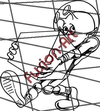 Cartoon Alien UFO ET Silhouette 22 (Decal - Sticker)