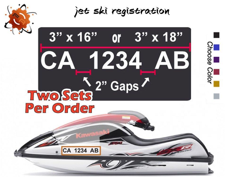 JET SKI REGISTRATION PSW BOAT SEA DOO NUMBERS PAIR*(Decal - Sticker)