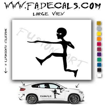 Alien ET Extra-Terrestrial S.E.T.I. Area 51 Silhouettes #6 (Decal - Sticker)
