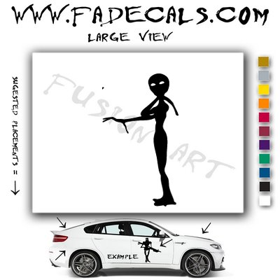 Alien ET Extra-Terrestrial S.E.T.I. Area 51 Silhouettes #11 (Decal - Sticker)