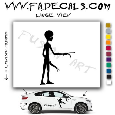 Alien ET Extra-Terrestrial S.E.T.I. Area 51 Silhouettes #12 (Decal - Sticker)