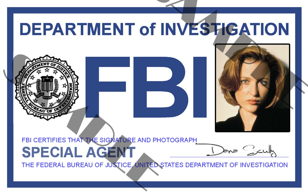 x files special agent dana scully id card template x4l124