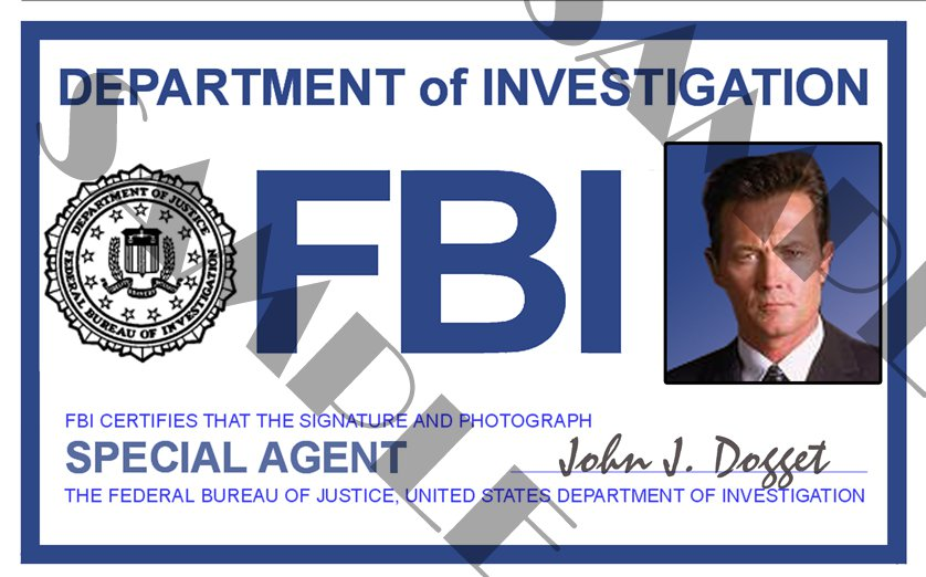 x files special agent john doggett id card template x4l123