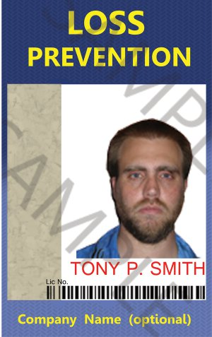 Standard Loss Prevention ID card (Template LPO336)