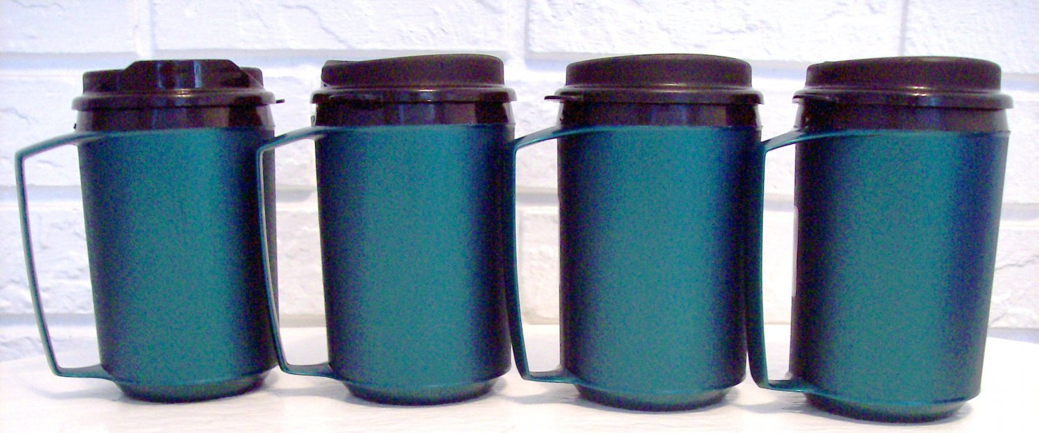 4 12 oz Green Classic Thermo Serv Insulated Travel Mugs