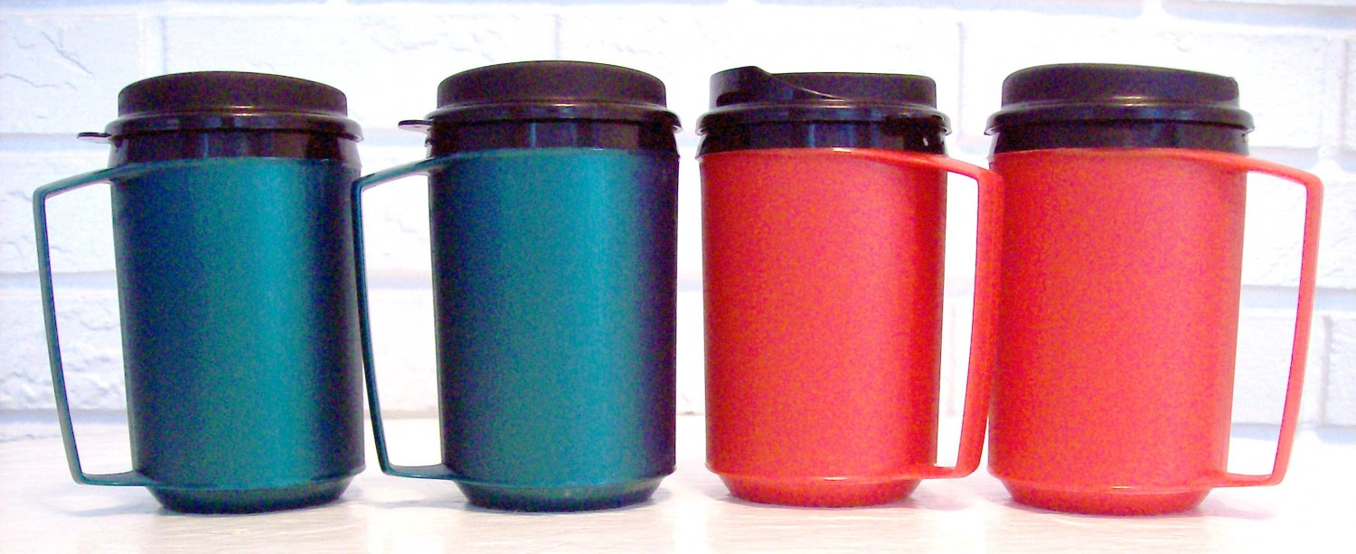 4 12 oz Red & Green Classic Thermo Serv Insulated Travel Mugs