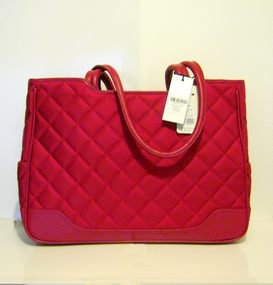 Knomo Una Quilted Nylon & Leather Laptop Tote, NWT - MSRP $250.00