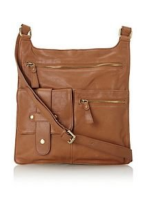 Chocolat Blu Cross-Body Messenger in Cognac, NWT, MSRP $180, Free Ship