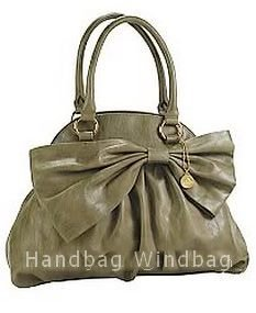 Big Buddha AmandaTote, Dome Bag with Bow in Grey (olive), NWT