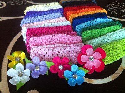 36 Grosgrain Ribbon Gerber Flower Gem Hair Clips & Crochet Headbands- You Pick