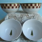 Set of 4 Zak Design's Debbie Mumm Folk Art Santa Soup / Cereal  Bowls New