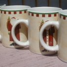 Debbie Mumm Folk Art Santa's MUGS SET OF 4 -  NEW