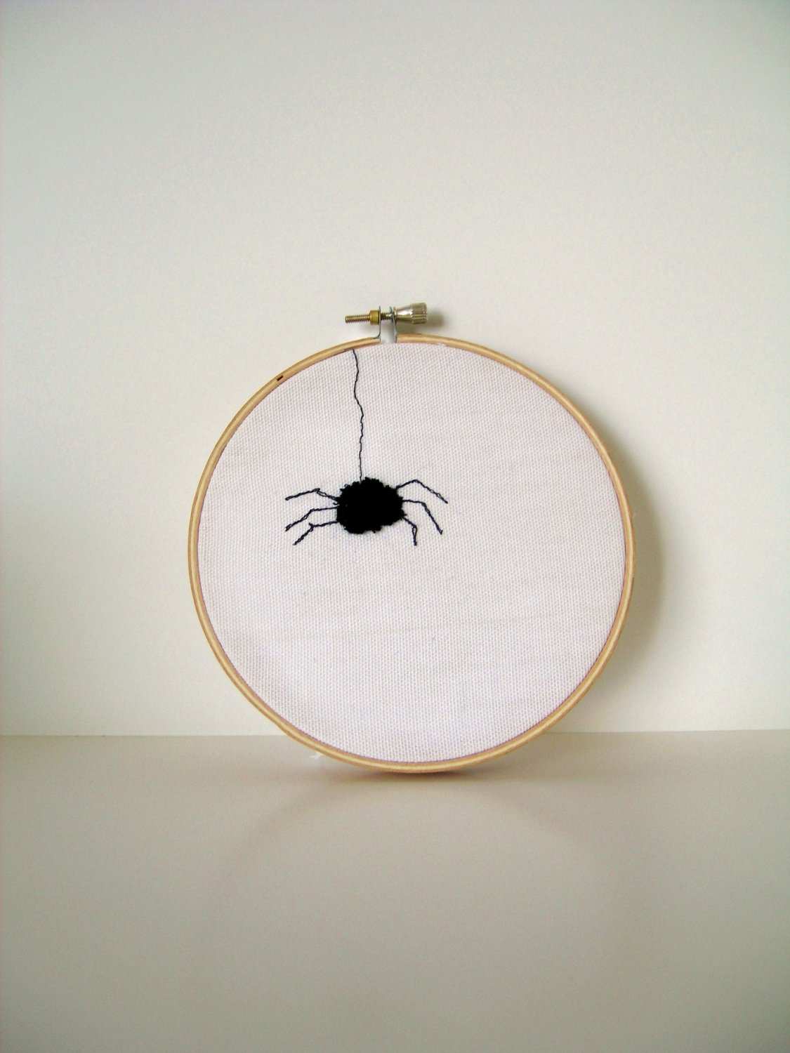 Fuzzy Spider  Needle Punch Embroidery Hoop