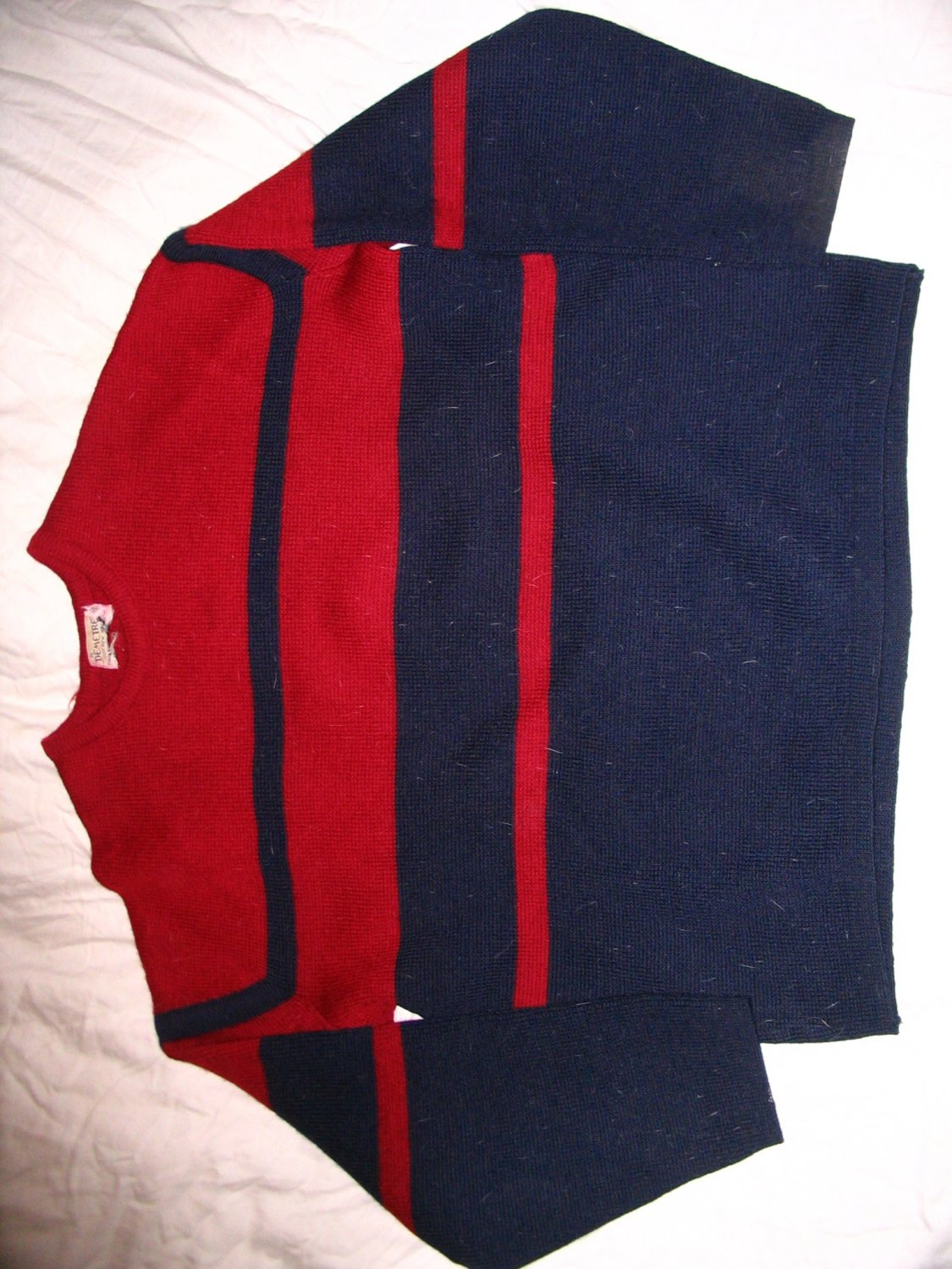 Demetre 100% Wool Sweater Red Navy Demeter