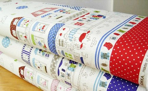 Eiffel Tower and Merry Go Round RED (half yard)