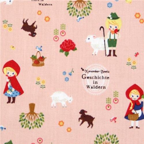 KOKKA Red Riding Hood FairyTale PINK (Half Yard)