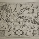 Antique Map of the World Fabric