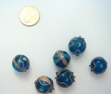 Round Blue Wedding Cake Style Beads