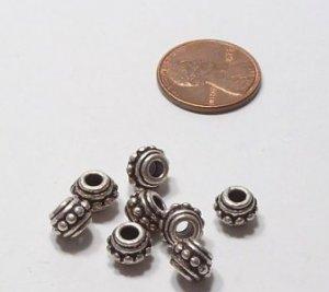 Round Silvertone Bali-style Bumpy Beads