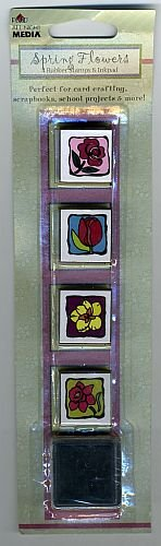 Spring Flowers Rubber Stamp Set with Inkpad