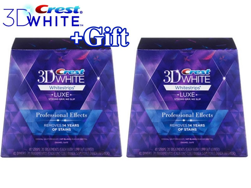 2X Crest 3D White Luxe Whitestrips Professional Effects 40 Strips / 20 Pouches (Made in USA)