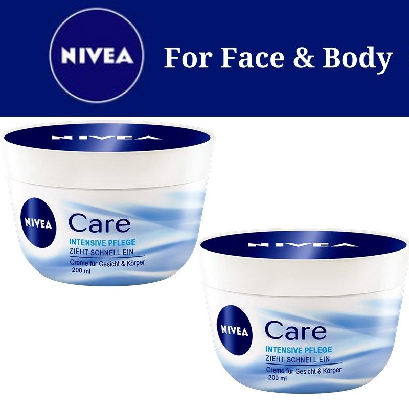 2X Nivea Intensive Care Cream 200ml For Face & Body