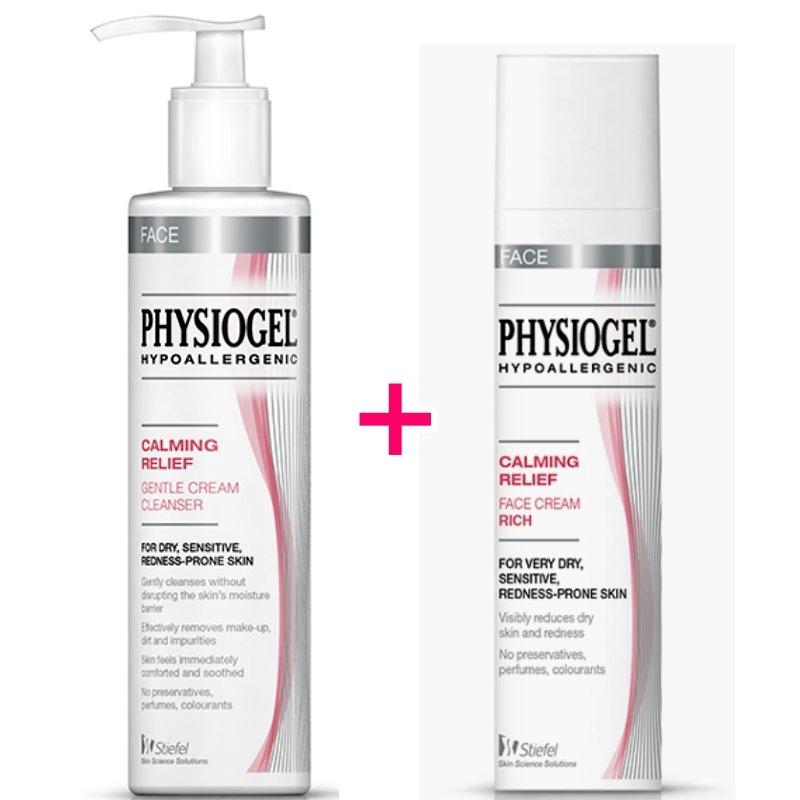 Physiogel Calming Relief Gentle Cream Cleanser 200ml & Face Cream Rich 40ml Set