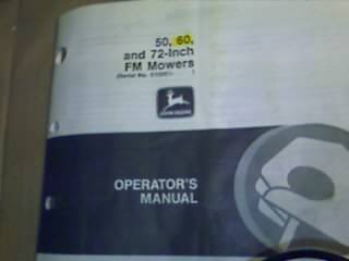 "JD John Deere 50,60, & 72"" FM Mower Operators Manual"