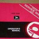 JD John Deere 1635 disk Operators Manual