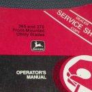 JD John Deere 365 375 Utility Blades Operators Manual