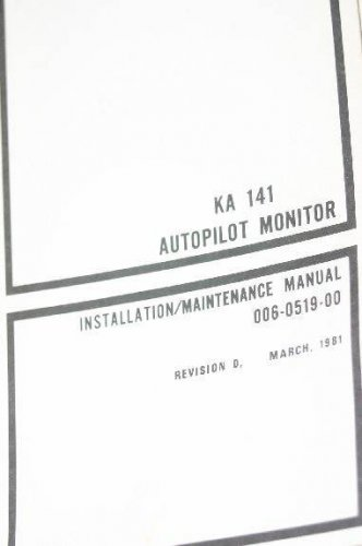 Bendix King KA141 Autopilot Monitor Install/Maintenance Manual 006-0519-00