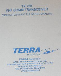 Terra TX-720 VHF COMM Transceiver operation/installation manual TX720
