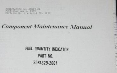 Allied Bendix Fuel quantity Indicator 3581320-2001 Component Manual