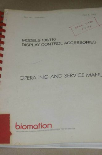 Gould Biomation 108/116 Display Control acc Operating Users Guide Service Manual