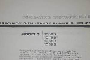 Weldmatic 1039B/1049B/1058B/1059B Power Supplies Operating Users Guide Manual