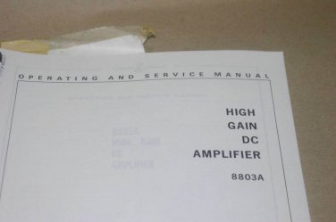 HP Hewlett Packard 8803a High Gain DC Amplifier Operating Service Manual