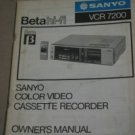 Sanyo  VCR 7200  Color Video Cassette Recorder VCR 7200 Owner's Manual