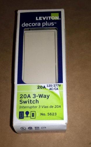 Lot of 5 Leviton Light Almond Decora Rocker Wall Light Switches 3-Way 20A 5623-2