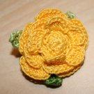 Yellow Rose of Texas Crochet Brooch