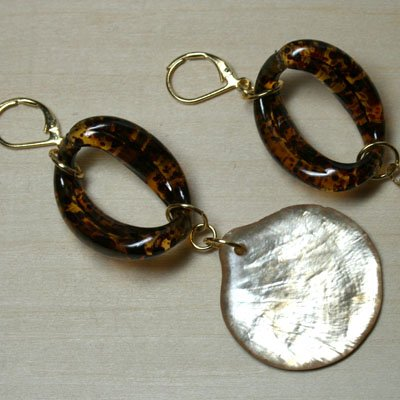 Tortise Shell Shimmy Earrings