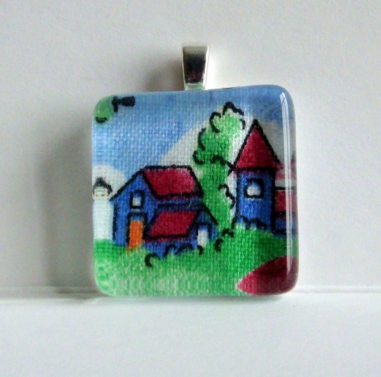 Little Town, Glass Tile Pendant (8)