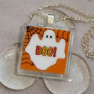 Boo Halloween Glass Tile Pendant Necklace