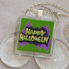 Happy Halloween Glass Tile Pendant Necklace